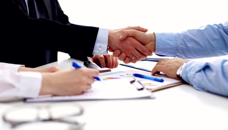 Foto de Business meeting at office. handshake in office. - Imagen libre de derechos