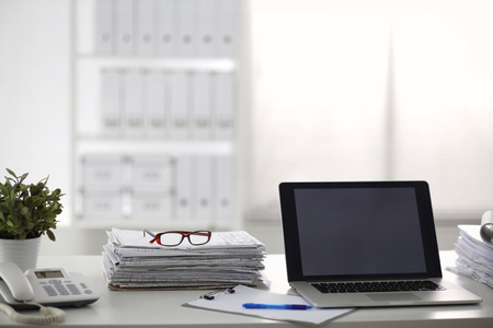 Photo for office desk a stack of computer paper reports work forms. - Royalty Free Image