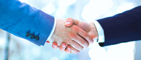 Photo for Businessmen shaking hands, isolated on white background - Royalty Free Image