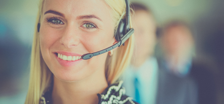Photo pour Portrait of support phone operator with the headset - image libre de droit
