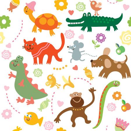 cartoon animals, children's pattern