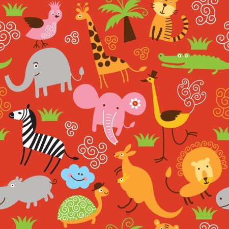 Photo pour seamless pattern with cute animals - image libre de droit