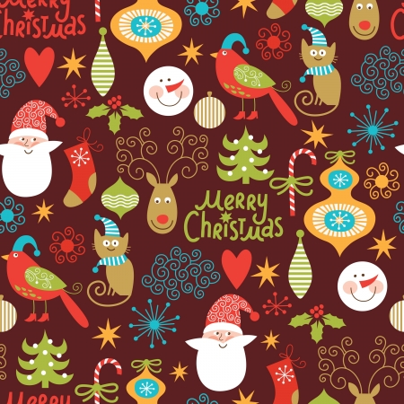 seamless background, Christmas and New Year s decorative elements
