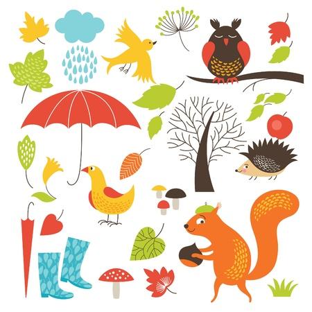 Ilustración de set of cartoon characters and autumn elements - Imagen libre de derechos