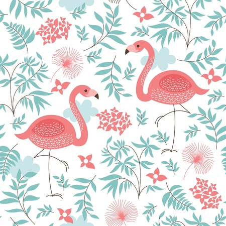 Illustration pour seamless pattern with a pink flamingo - image libre de droit