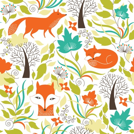 Photo pour Seamless pattern with a foxes - image libre de droit