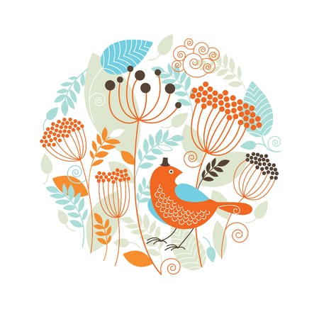 Illustration pour Floral illustration with the birds - image libre de droit