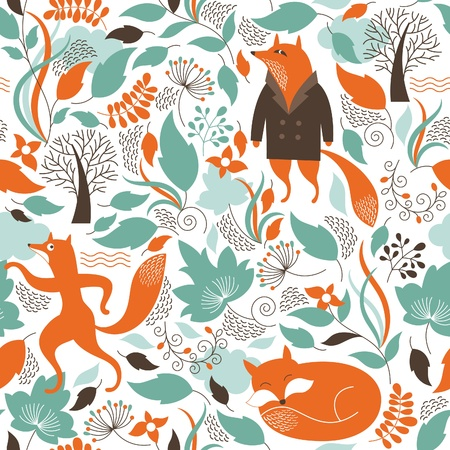 Photo for Seamless pattern with the cute fox - Royalty Free Image