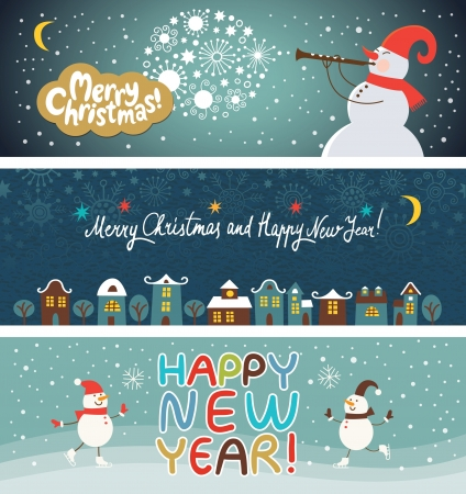 Ilustración de set of Christmas and New Year s banners - Imagen libre de derechos