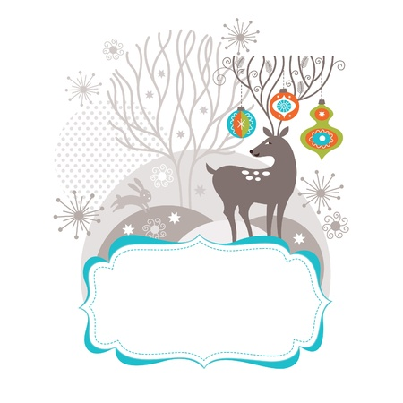 Illustration for Christmas and New Year card, Christmas deer with amusing antler - Royalty Free Image