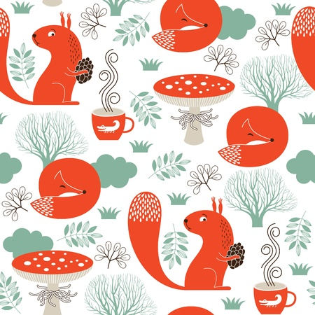 Illustration pour seamless pattern with cute animals - image libre de droit