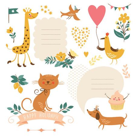 Illustration pour Set of animals illustrations and graphic elements - image libre de droit