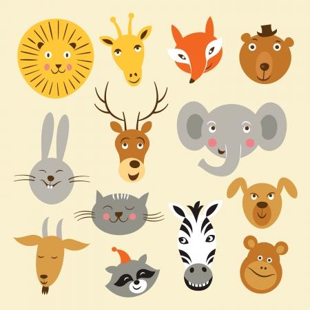Illustration pour Vector illustration of animal faces - image libre de droit