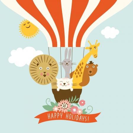 Ilustración de Funny friendly animals in a balloon - Imagen libre de derechos