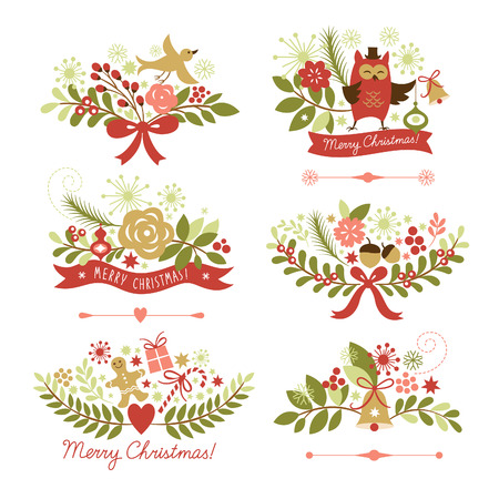 Ilustración de Set of Christmas and New Year graphic elements - Imagen libre de derechos