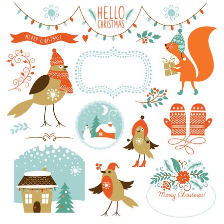 Ilustración de Set of Christmas graphic elements - Imagen libre de derechos