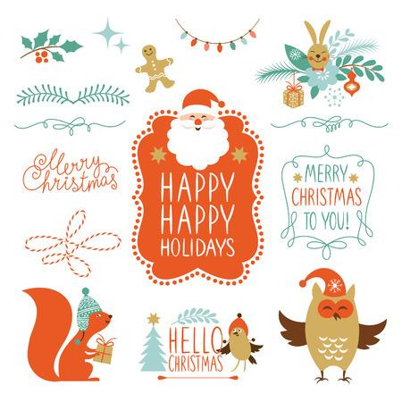 Illustration pour Set of Christmas lettering and graphic elements - image libre de droit