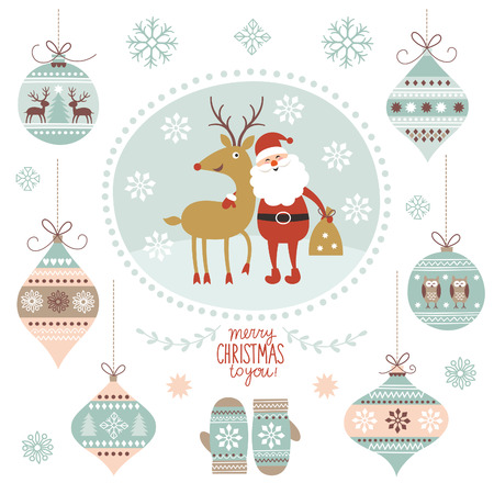 Illustration pour Christmas illustration, Santa Claus and Deer, hanging toys - image libre de droit