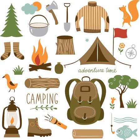 Illustration pour Set of camping equipment icon set - image libre de droit