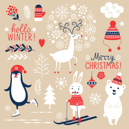 Set of Christmas graphic elements on beige background