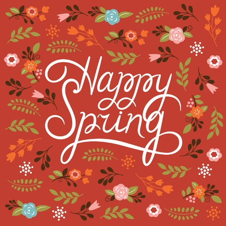 Illustration for Spring card - Lettering Happy Spring - Royalty Free Image