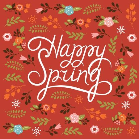 Illustration pour Spring card - Lettering Happy Spring - image libre de droit
