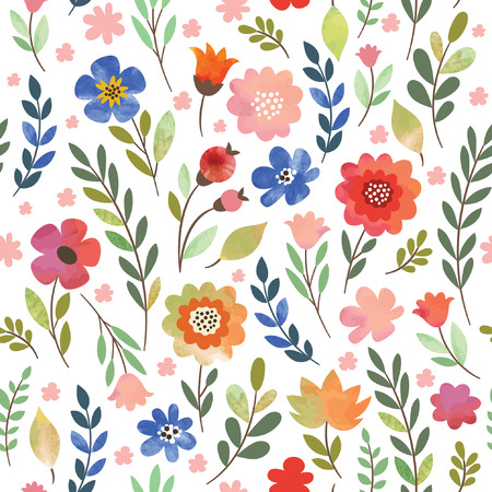 Illustration for floral seamless pattern, watercolor flowers - Royalty Free Image