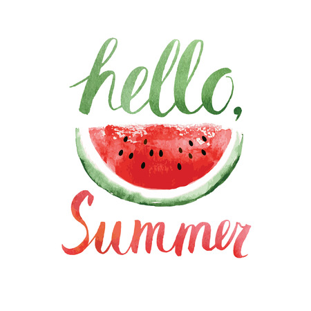 Illustration for hello summer,watercolor  lettering with watermelon - Royalty Free Image