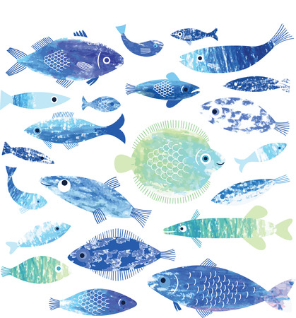 Illustration pour set of fish art - image libre de droit