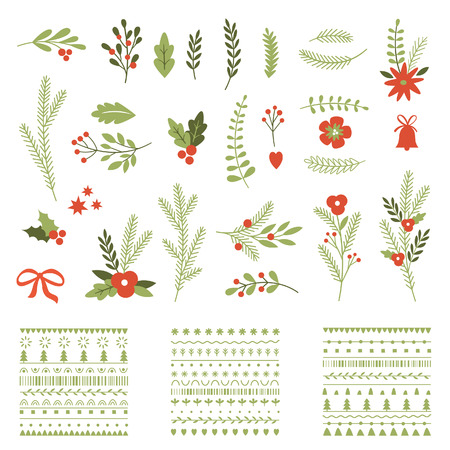 Illustration pour Set of Christmas graphic elements and ornaments - image libre de droit