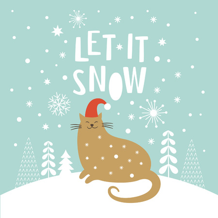 Illustration for Cute cat in red hat, Christmas vector illustration, Let it snow lettering, Christmas card - Royalty Free Image