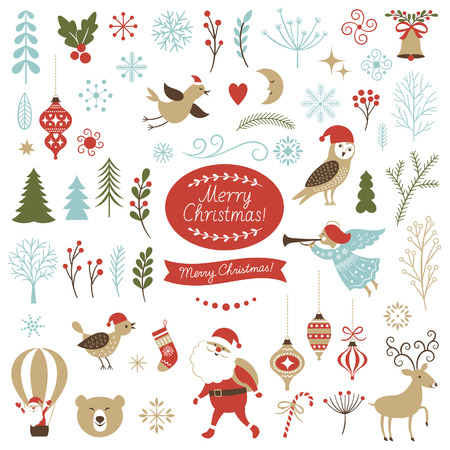 Illustration pour Big Set of Christmas graphic elements - image libre de droit