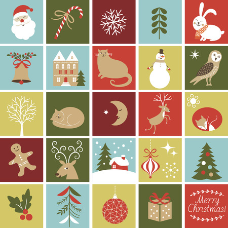Illustration for Set Icons for create Advent Calendar, Christmas Illustrations and Characters, Cute fox, owl, cat, Santa, gingerbread man, rabbit , reindeer - Royalty Free Image