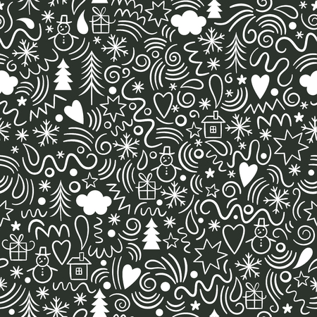 Illustration for seamless Christmas pattern, fun doodles - Royalty Free Image