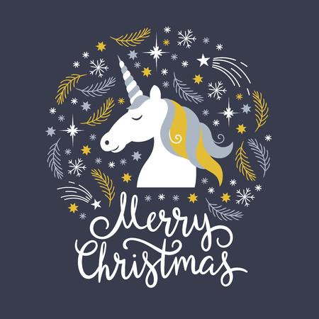 Illustration for Christmas illustration, merry christmas, unicorn - Royalty Free Image