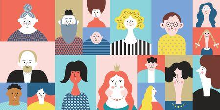 Illustration pour People Avatar Face icons, set stylized portraites, cartoon people - image libre de droit