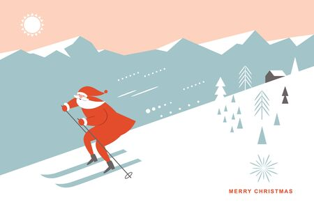 Illustration pour Santa skiing downhill in high mountains, greeting card, season greetings, poster, banner, Merry Christms horizontal card - image libre de droit