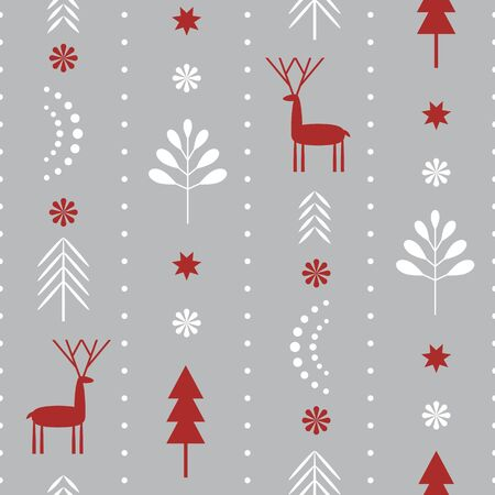 Ilustración de Seamless Christmas pattern . Stylized Christmas gift boxes, snowflakes, trees. Idea for fabric, tablecloth pattern, wrapping paper, gift paper - Imagen libre de derechos