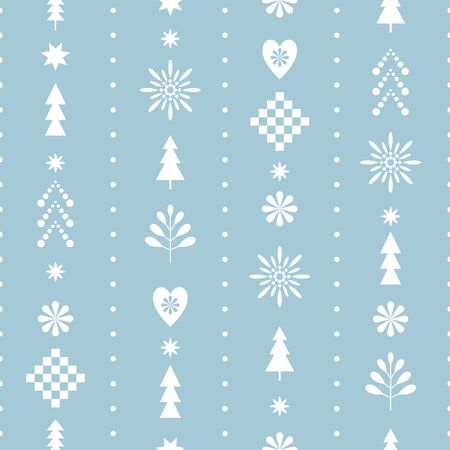 Illustration for seamless Christmas pattern with stylized snowflakes and trees in one color blue - Royalty Free Image