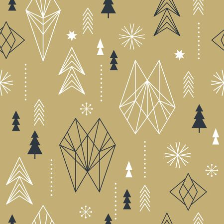 Ilustración de Seamless Christmas pattern with stylized snowflakes, trees, geometric shapes, fabric design or gift paper, wrapping print - Imagen libre de derechos
