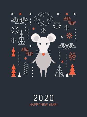 Ilustración de Happy Chinese new year. Cute mouse, decor elements, chinese lanterns, banner concept, greeting card - Imagen libre de derechos