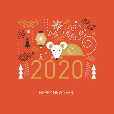 Illustration pour Happy Chinese New Year. Cute mouse, stylized geometric trees, decor elements, banner concept, greeting card - image libre de droit