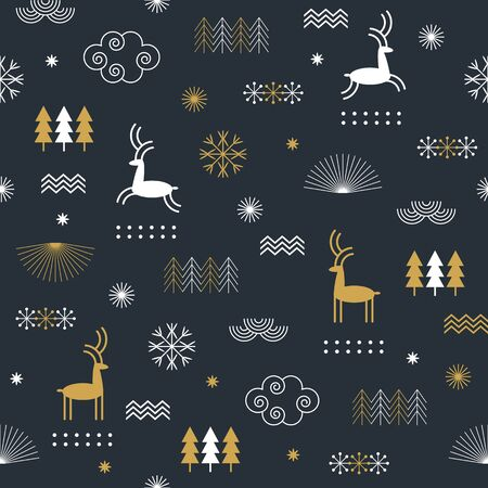 Illustration for Seamless Christmas pattern with stylized snowflakes, deers, trees, fabric design or gift paper, wrapping print - Royalty Free Image