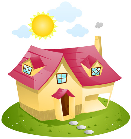 Cartoon House with Clipping Path