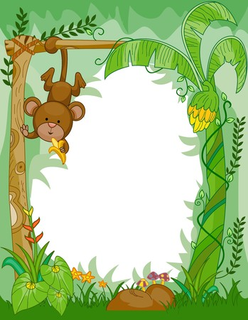 Frame Design Featuring a Monkey Eating Bananas in the Jungle