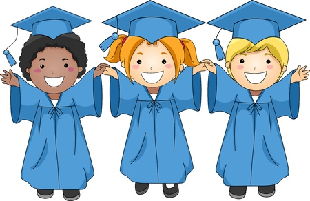 Illustration of Graduates Jumping Happily