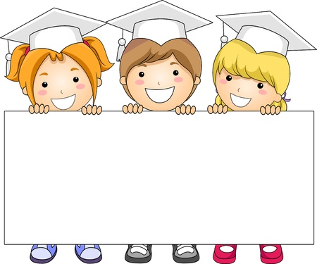 Illustration of Kids Holding a Banner