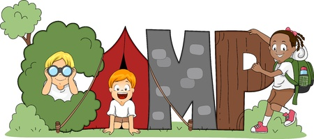Illustration of Children Out Camping