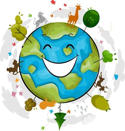 Illustration of a Happy Earth Mascot