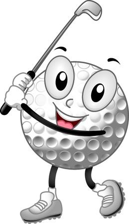 Mascot Illustration of a Golf Ball Holding a Golf Club